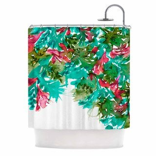 KESS InHouse Ebi Emporium Floral Cascade 7 Teal Red Shower Curtain (69x70)