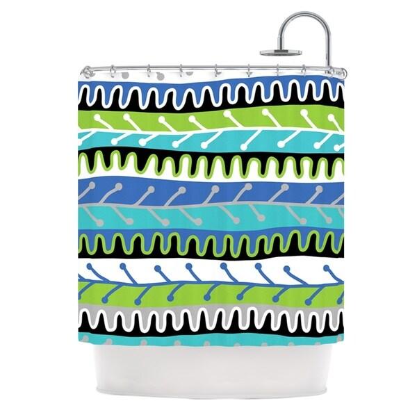 KESS InHouse Jacqueline Milton Salsa - Blue Aqua Green Shower Curtain (69x70)