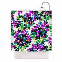 KESS InHouse Ebi Emporium Dahlia Dots 2 Purple Green Shower Curtain (69x70)