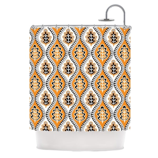 KESS InHouse Jacqueline Milton Oak Leaf - Orange Floral Orange Shower Curtain (69x70)