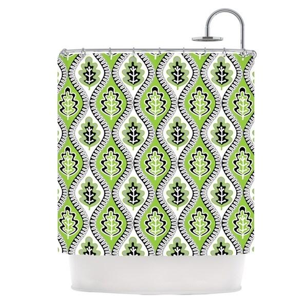 KESS InHouse Jacqueline Milton Oak Leaf - Lime Green Floral Shower Curtain (69x70) - 69 x 70
