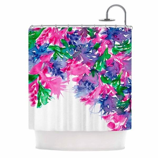 KESS InHouse Ebi Emporium Floral Cascade 1 Pink Green Shower Curtain (69x70)