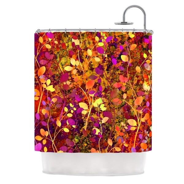 KESS InHouse Ebi Emporium Amongst the Flowers - Warm Sunset Pink Orange Shower Curtain (69x70)