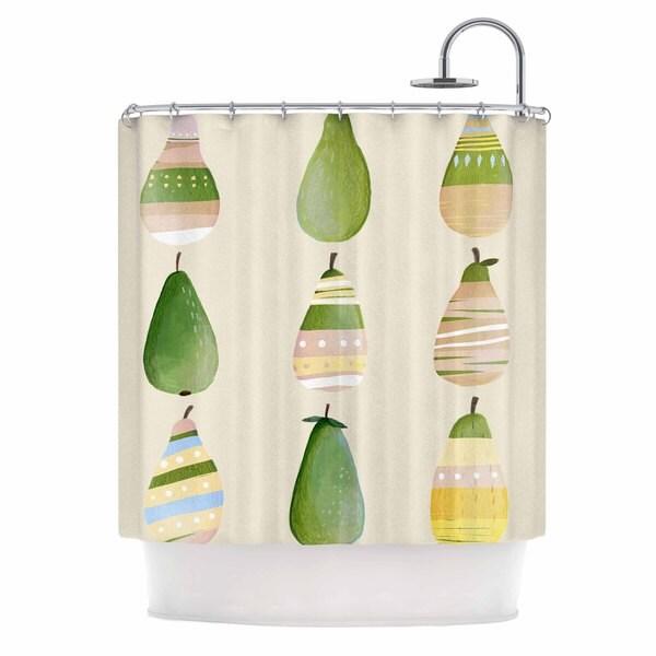 KESS InHouse Judith Loske Happy Pears Green Gold Shower Curtain (69x70)