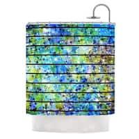 KESS InHouse Ebi Emporium Stripes & Snowflakes Blue Green Shower Curtain (69x70)