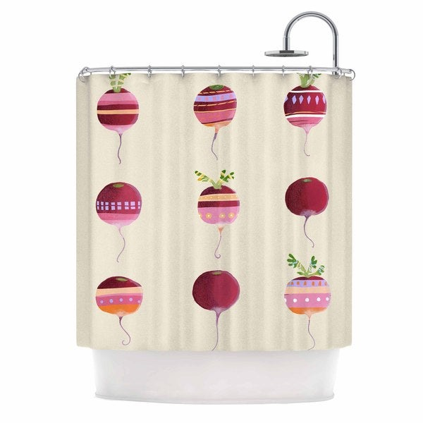 KESS InHouse Judith Loske Happy Radishes Ped Pink Shower Curtain (69x70)