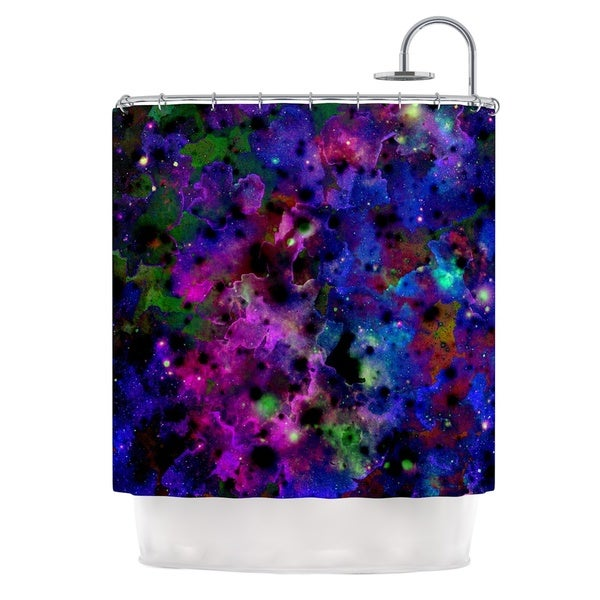 KESS InHouse Ebi Emporium Color Me Floral Celestial Blue Shower Curtain (69x70)