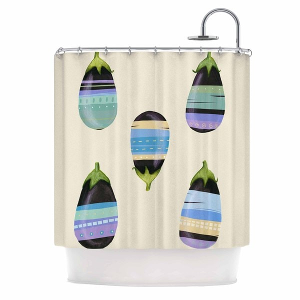 KESS InHouse Judith Loske Happy Aubergines Blue Purple Shower Curtain (69x70)