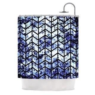 KESS InHouse Ebi Emporium Chevron Wonderland II Blue Black Shower Curtain (69x70)