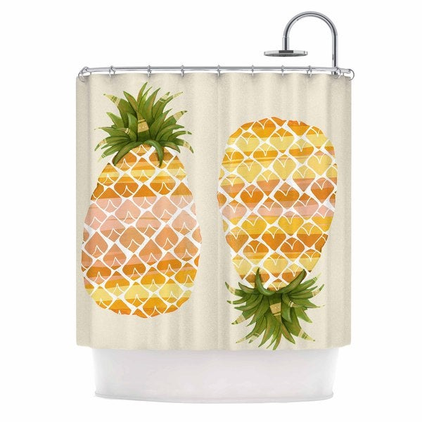 KESS InHouse Judith Loske Happy Pineapples Yellow Gold Shower Curtain (69x70)