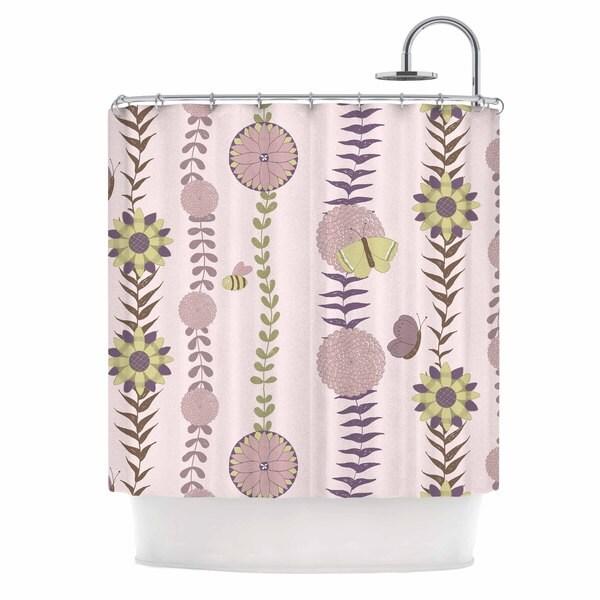KESS InHouse Judith Loske Purple Flower Blush Pattern Shower Curtain (69x70)