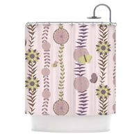 KESS InHouse Judith Loske Purple Flower Blush Pattern Shower Curtain (69x70)