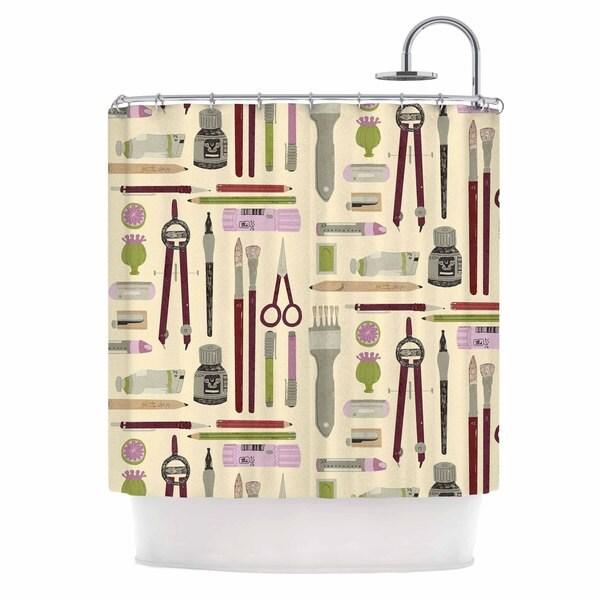 KESS InHouse Judith Loske Art Supplies Tan Pattern Shower Curtain (69x70)