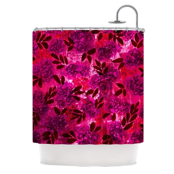 KESS InHouse Ebi Emporium Grunge Flowers IV Pink Red Shower Curtain (69x70)