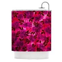 KESS InHouse Ebi Emporium Grunge Flowers IV Pink Red Shower Curtain (69x70)