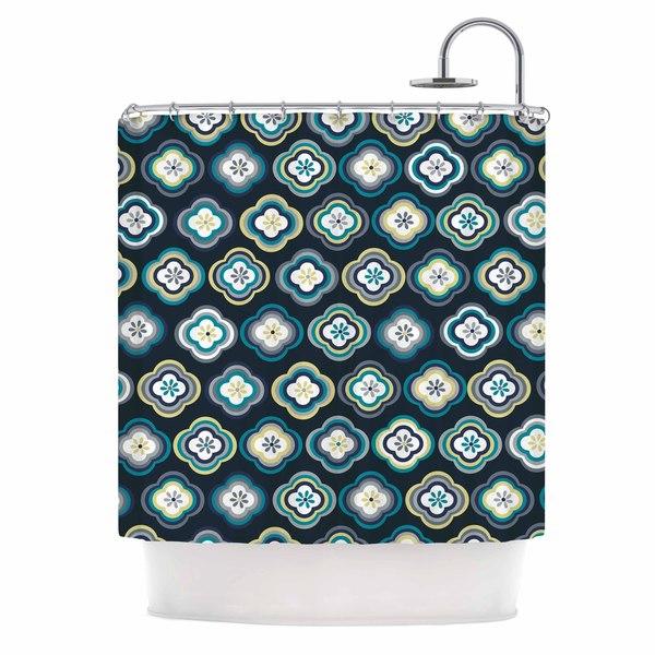 KESS InHouse Jolene Heckman Graphic Floral Teal Blue Shower Curtain (69x70)