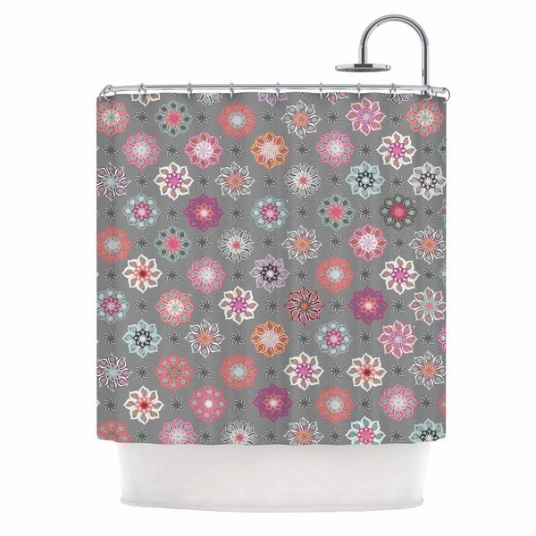 KESS InHouse Jolene Heckman Mini Floral Pink Gray Shower Curtain (69x70)
