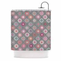 KESS InHouse Jolene Heckman Mini Floral Pink Gray Shower Curtain (69x70)