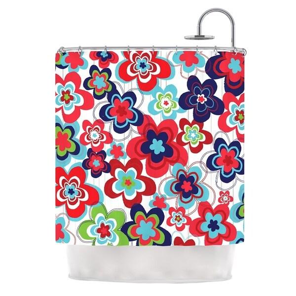 KESS InHouse Jolene Heckman A Cheerful Morning Blue Red Shower Curtain (69x70)
