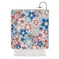 KESS InHouse Jolene Heckman Marsala Floral Mix Pink Blue Shower Curtain (69x70)