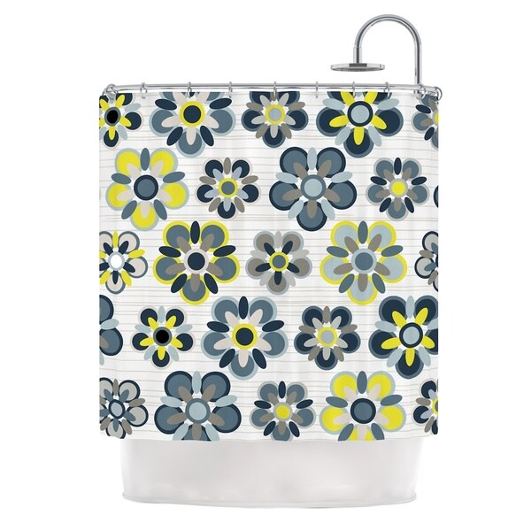 KESS InHouse Jolene Heckman Blue Folksy Yellow Gray Shower Curtain (69x70)