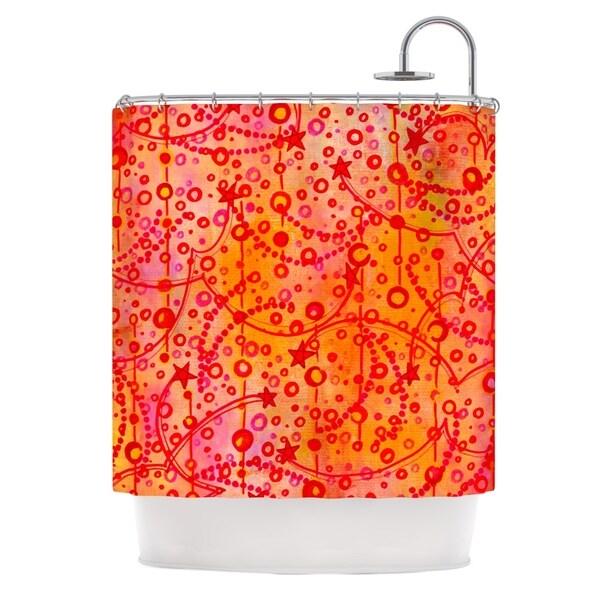 KESS InHouse Ebi Emporium Make A Wish Orange Red Shower Curtain (69x70)
