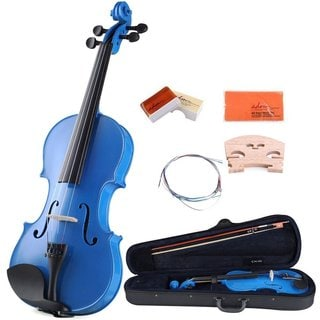 ADM 4/4 Full Size Handcrafted Solid Wood Acoustic Violin Starter Kit with Bow, Rosin, Bridges, Polishing Cloth, etc, Blue