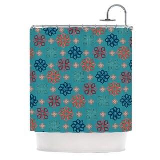 KESS InHouse Jolene Heckman Turquoise Mini Teal Flowers Shower Curtain (69x70)