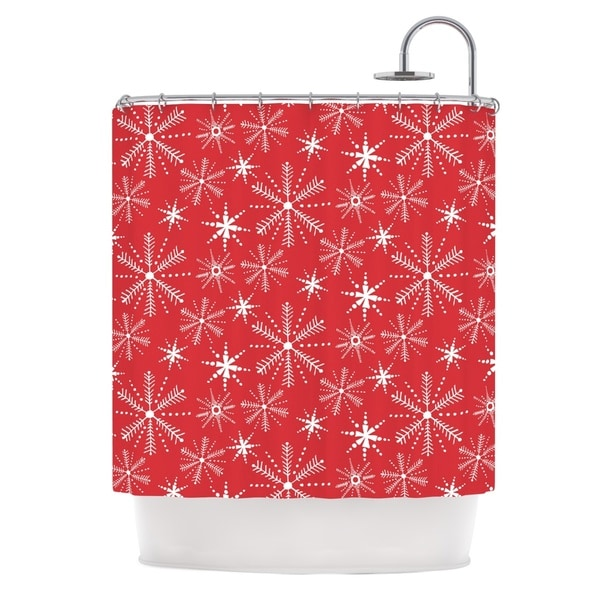 KESS InHouse Julie Hamilton Snowflake Berry Holiday Shower Curtain (69x70)
