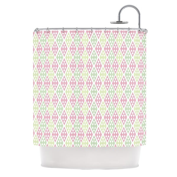 KESS InHouse Julie Hamilton Woven Wrap Pink Green Shower Curtain (69x70)