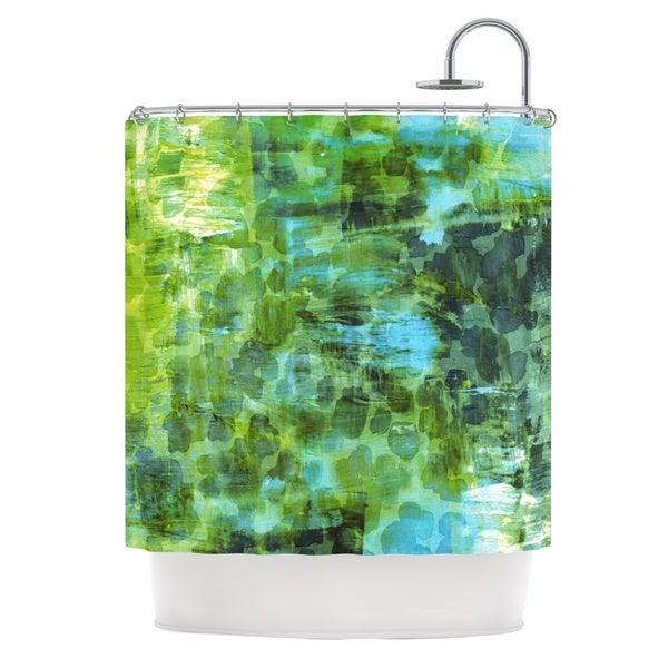 KESS InHouse Ebi Emporium Pastel Jungle II Green Blue Shower Curtain (69x70)