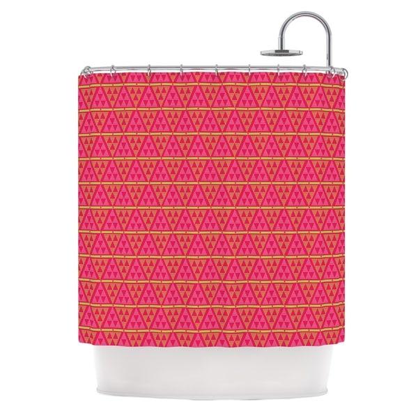 KESS InHouse Julie Hamilton Woven Red Pink Shower Curtain (69x70)