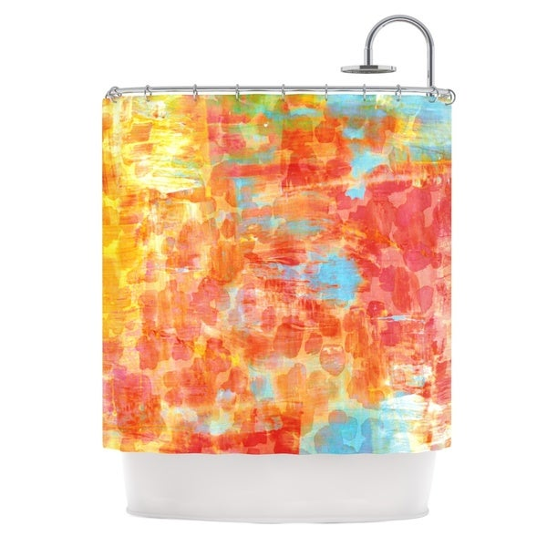 KESS InHouse Ebi Emporium Pastel Jungle Orange Red Shower Curtain (69x70)