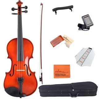 ADM 1/2 Half Size Handcrafted Solid Wood Acoustic Violin Starter Kits Case, Rosin, Tuner, Fingerboard Sticke, etc, Red Brown