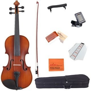 ADM 1/4 Size Handcrafted Solid Wood Acoustic Violin Starter Kit for Kids with Hard Case, Bow, Rosin, Tuner,etc, Red Brown