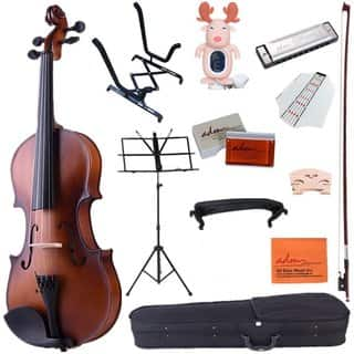 ADM 4/4 Full Size Handcrafted Solid Wood Student Acoustic Violin Starter Kits with Hard Case, Bow, Music Stand, Tuner, Brown|https://ak1.ostkcdn.com/images/products/15092826/P21581077.jpg?impolicy=medium