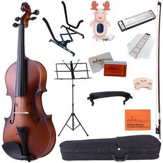 ADM 4/4 Full Size Handcrafted Solid Wood Student Acoustic Violin Starter Kits with Hard Case, Bow, Music Stand, Tuner, Brown