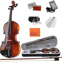 ADM 4/4 Full Size Handmade Wooden Acoustic Violin Outfit with Hard Case, Beginner Pack for Student