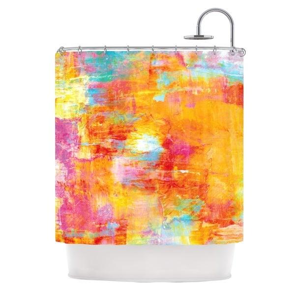 KESS InHouse Ebi Emporium Off The Grid Orange Rainbow Shower Curtain (69x70)