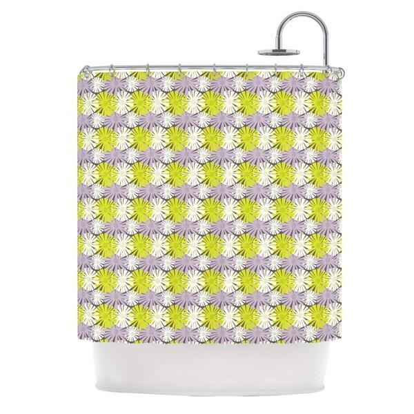KESS InHouse Julie Hamilton Zinnia Yellow Purple Shower Curtain (69x70)