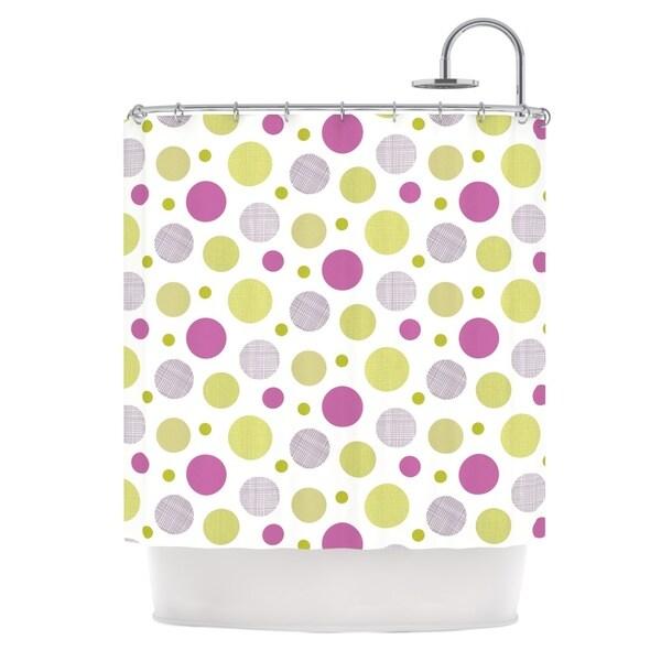 KESS InHouse Julie Hamilton Rhapsody Dot Pink Yellow Shower Curtain (69x70)