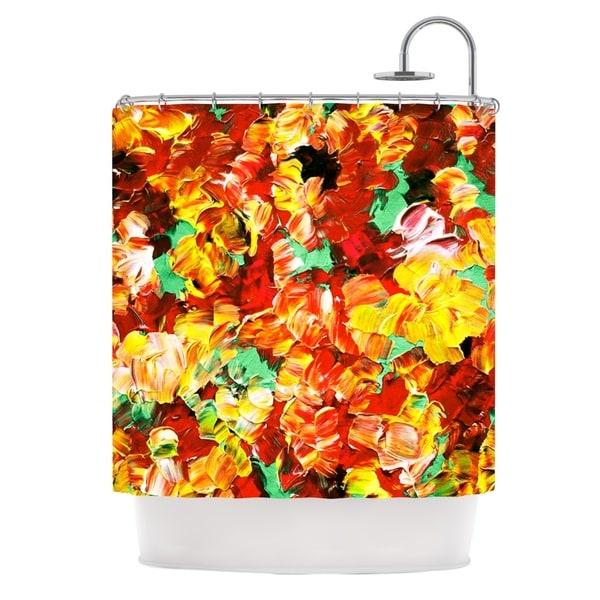 KESS InHouse Ebi Emporium Floral Fantasy II Orange Yellow Shower Curtain (69x70)