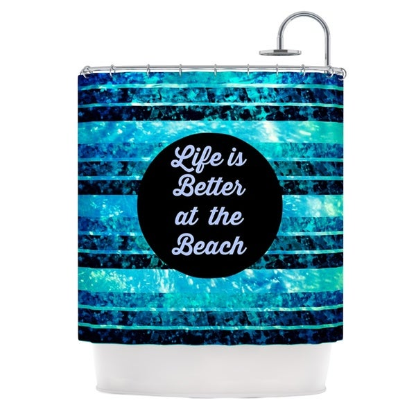 KESS InHouse Ebi Emporium Life is Better at the Beach Blue Aqua Shower Curtain (69x70)