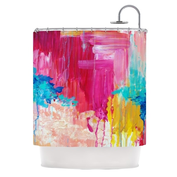 KESS InHouse Ebi Emporium Elated Multicolor Paint Shower Curtain (69x70)