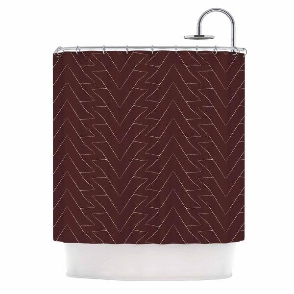 KESS InHouse Julia Grifol Brown Triangles Maroon Pattern Shower Curtain (69x70)