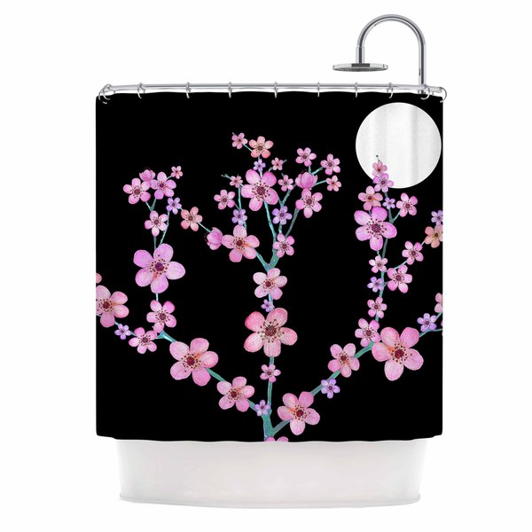 KESS InHouse Julia Grifol Cherry Blossom At Night Pink Black Shower Curtain 69x70