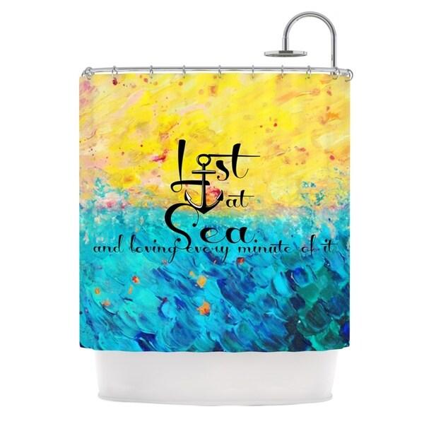 KESS InHouse Ebi Emporium Lost at Sea Yellow Blue Shower Curtain (69x70)
