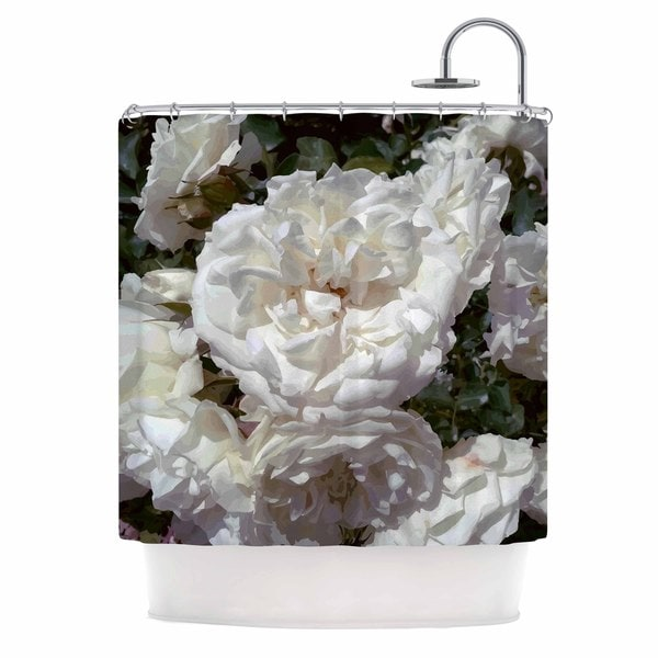 KESS InHouse Julia Grifol Flores Blancas White Nature Shower Curtain (69x70)