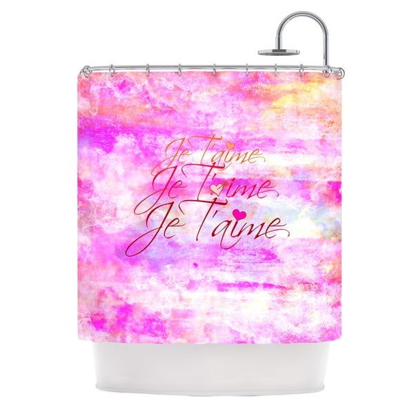 KESS InHouse Ebi Emporium Je T'aime II Abstract Pink Shower Curtain (69x70)