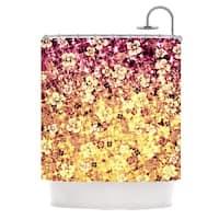 KESS InHouse Ebi Emporium Flower Power in Yellow Orange Glitter Shower Curtain (69x70)